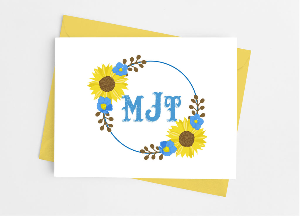 Rustic Sunflower Floral Monogram Note Cards - Cathy's Creations - www.candywrappershop.com