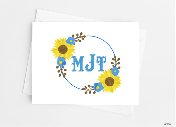 Rustic Sunflower Floral Monogram Note Cards-Note Cards-Cathy's Creations - www.candywrappershop.com