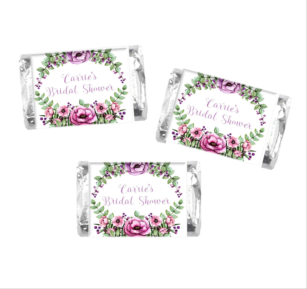 Floral Wreath Mini Candy Wrappers - Cathy's Creations - www.candywrappershop.com
