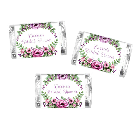 Floral Wreath Mini Candy Wrappers-Mini Candy Bar Wrapper-Cathy's Creations - www.candywrappershop.com