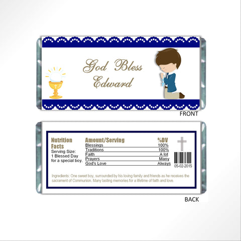 Communion Boy Candy Bar Wrapper - Cathy's Creations - www.candywrappershop.com