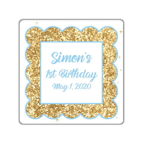 Gold Glitter Border Favor Stickers OR Tags - Cathy's Creations - www.candywrappershop.com