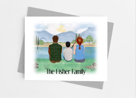 Fishing Family Portrait Note Cards-Note Cards-Cathy's Creations - www.candywrappershop.com