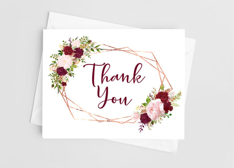 Geometric Floral Thank You Note Cards Note Cards- Cathy's Creations - www.candywrappershop.com