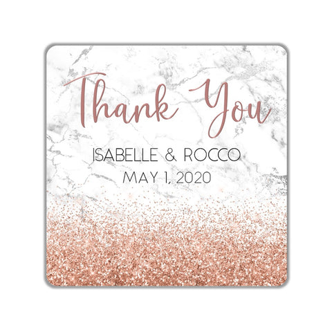 Marble and Rose Gold Glitter Favor Stickers OR Tags - Cathy's Creations - www.candywrappershop.com