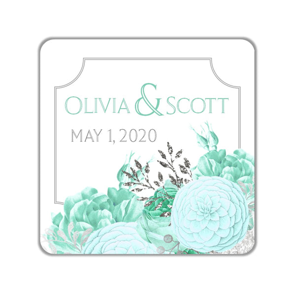Mint Floral Favor Stickers OR Tags - Cathy's Creations - www.candywrappershop.com