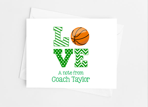 Sports Love Basketball Note Cards-Note Cards-Cathy's Creations - www.candywrappershop.com