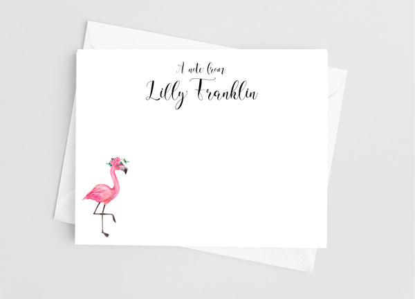 Floral Flamingo Flat Note Cards - Cathy's Creations - www.candywrappershop.com
