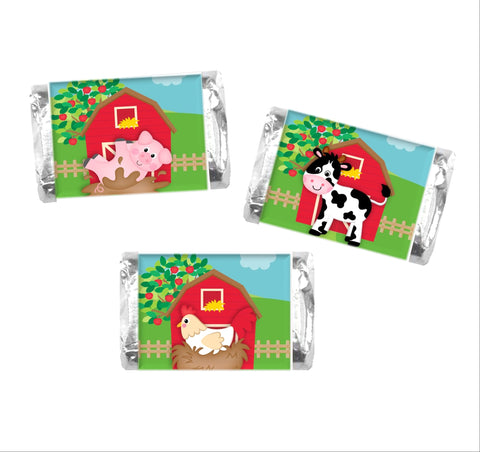 Farm Animal Mini Candy Wrappers-Mini Candy Bar Wrapper-Cathy's Creations - www.candywrappershop.com