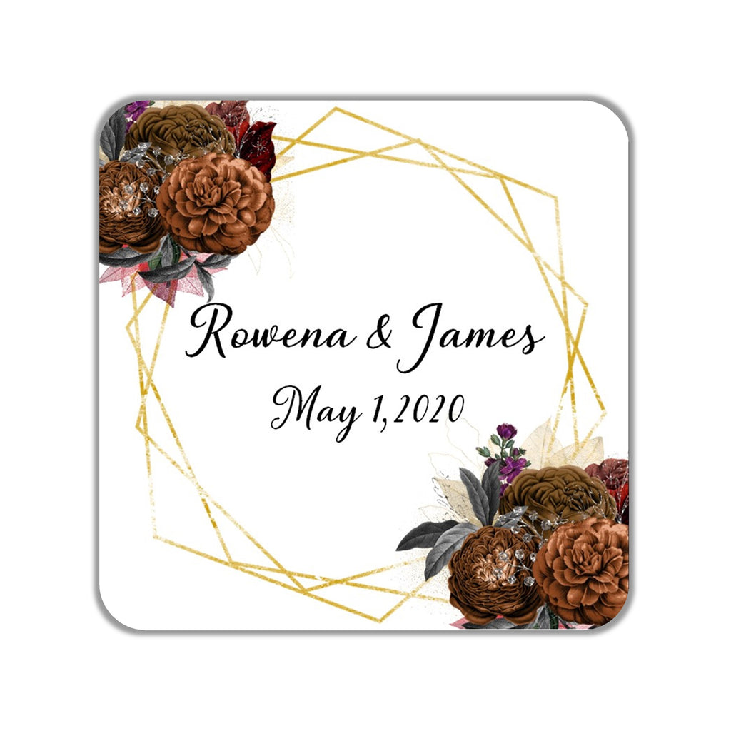 Fall Floral Geomtric Favor Stickers OR Tags - Cathy's Creations - www.candywrappershop.com