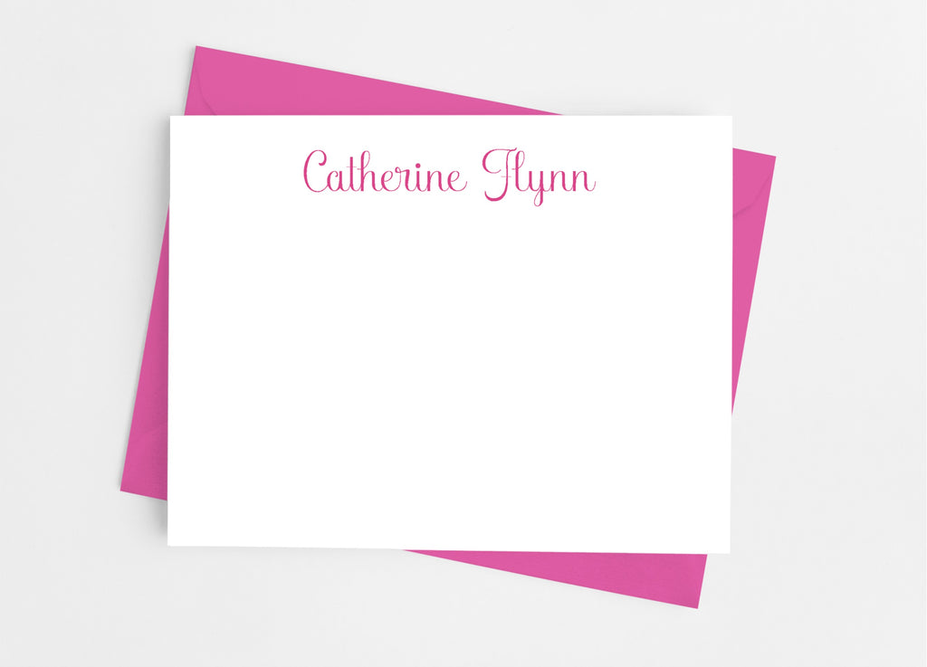 Personalized Stationery Flat Note Cards - Modern Classic Script - Cathy's Creations - www.candywrappershop.com