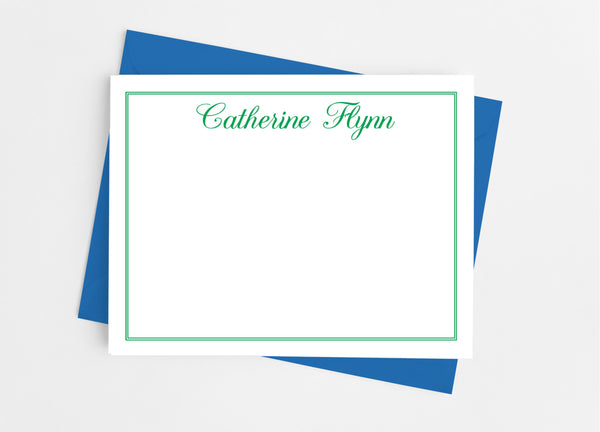 Personalized Stationery Flat Note Cards - Classic Calligraphy-Flat Stationery Cards-Cathy's Creations - www.candywrappershop.com