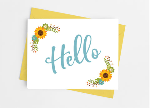 Sunflower Hello Note Cards-Note Cards-Cathy's Creations - www.candywrappershop.com