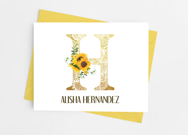 Sunflower Single Initial Monogram Note Cards - Cathy's Creations - www.candywrappershop.com