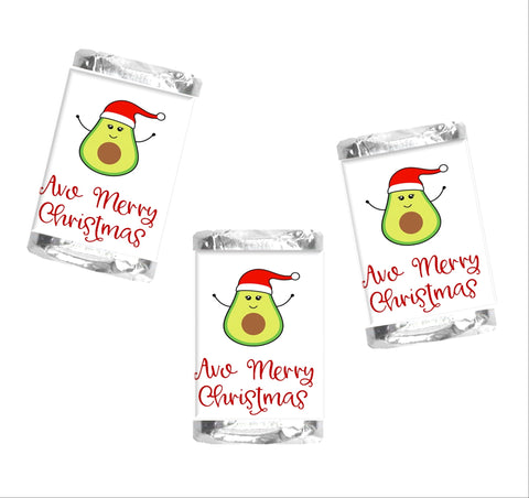 Avocado Christmas Mini Candy Bar Wrappers - Cathy's Creations - www.candywrappershop.com