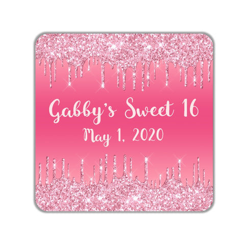 Pink Glitter Drip Favor Stickers OR Tags - Cathy's Creations - www.candywrappershop.com