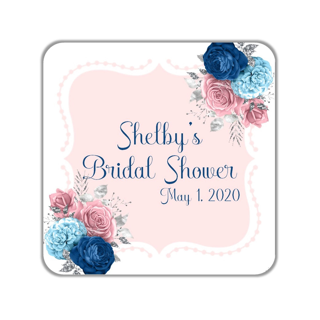 Pink and Blue Floral Favor Stickers OR Tags - Cathy's Creations - www.candywrappershop.com
