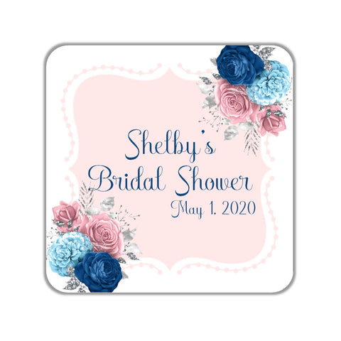 Pink and Blue Floral Favor Stickers OR Tags-Favor Tags & Stickers-Cathy's Creations - www.candywrappershop.com