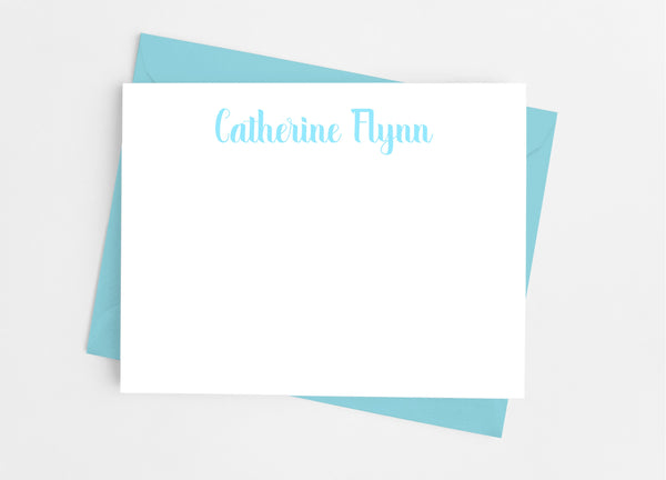 Personalized Stationery Flat Note Cards - Modern Calligraphy Script - Cathy's Creations - www.candywrappershop.com