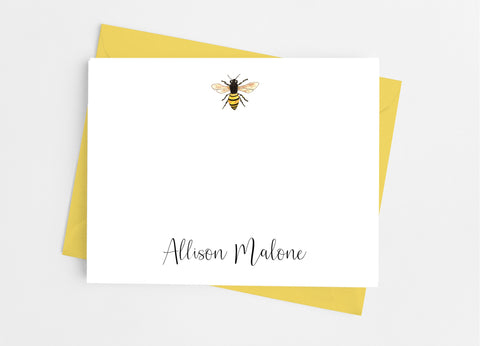 Bee Flat Note Cards-Flat Stationery Cards-Cathy's Creations - www.candywrappershop.com