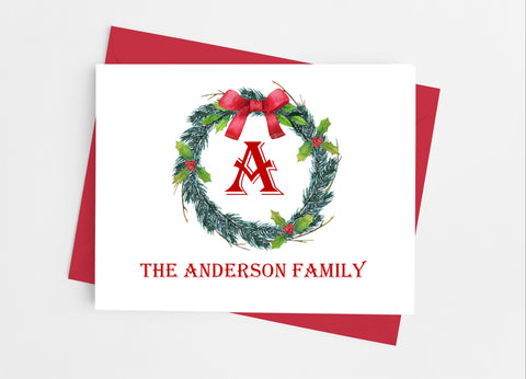 Christmas Wreath Single Initial Monogram Note Cards - Cathy's Creations - www.candywrappershop.com