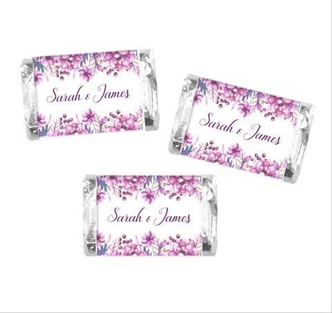 Purple Floral Mini Candy Wrappers-Mini Candy Bar Wrapper-Cathy's Creations - www.candywrappershop.com
