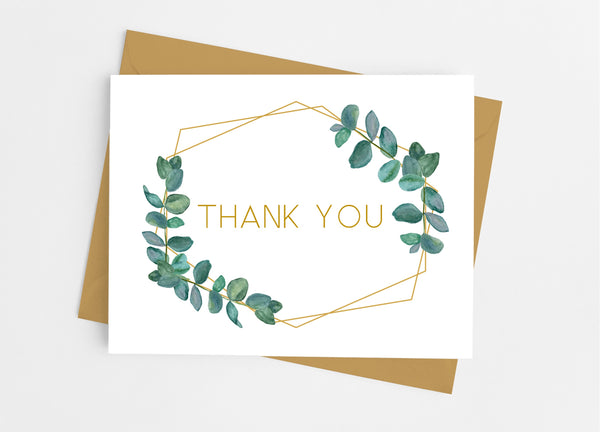 Botanical Greenery Thank You Cards - Cathy's Creations - www.candywrappershop.com