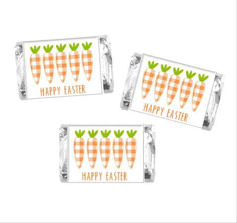 Easter Plaid Carrots Mini Candy Bar Wrappers - Cathy's Creations - www.candywrappershop.com