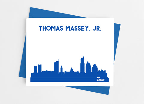 Texas State Skyline Personalized Note Cards - Cathy's Creations - www.candywrappershop.com