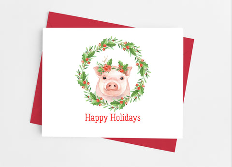 Christmas Pig Note Cards - Cathy's Creations - www.candywrappershop.com