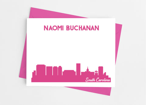 South Carolina State Skyline Personalized Note Cards - Cathy's Creations - www.candywrappershop.com