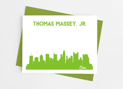 Ohio State Skyline Personalized Note Cards - Cathy's Creations - www.candywrappershop.com