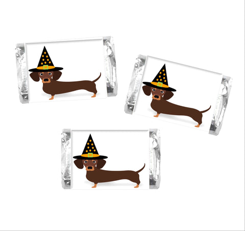 Dachshund Halloween Mini Candy Bar Wrappers - Cathy's Creations - www.candywrappershop.com
