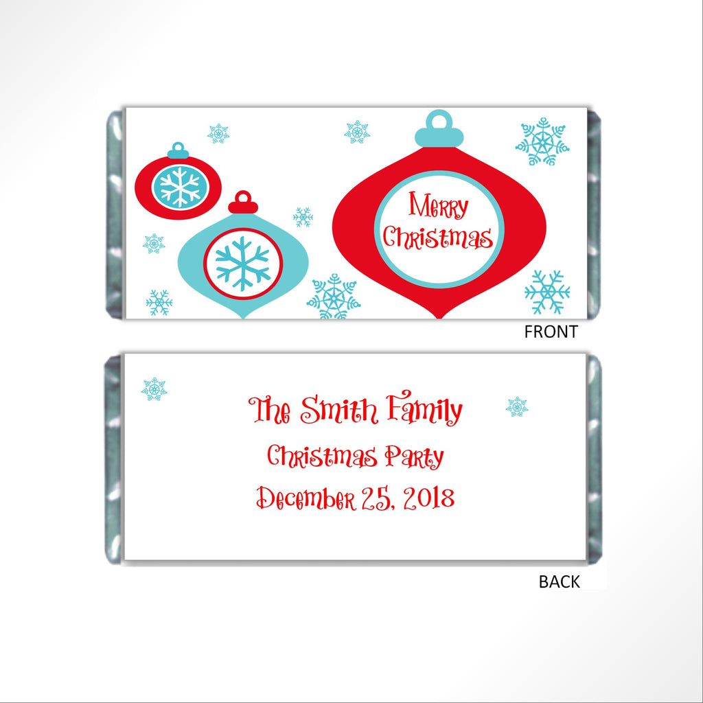 Retro Christmas Ornament Candy Bar Wrapper - Cathy's Creations - www.candywrappershop.com