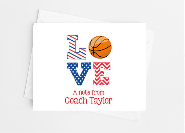 Sports Love Basketball Note Cards - Cathy's Creations - www.candywrappershop.com
