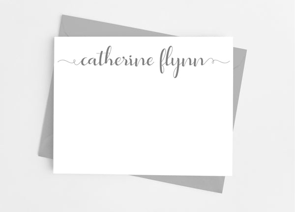 Personalized Stationery Flat Note Cards - Lowercase Script Flourish - Cathy's Creations - www.candywrappershop.com