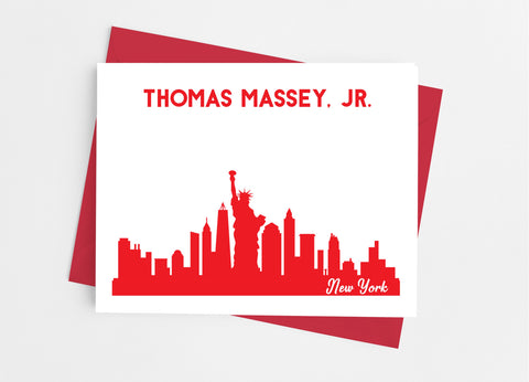 New York State Skyline Personalized Note Cards - Cathy's Creations - www.candywrappershop.com