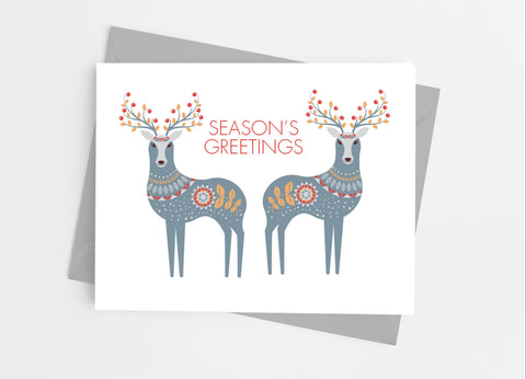Scandinavian Reindeer Note Cards - Cathy's Creations - www.candywrappershop.com