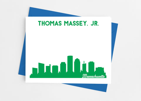 Massachusetts State Skyline Personalized Note Cards - Cathy's Creations - www.candywrappershop.com
