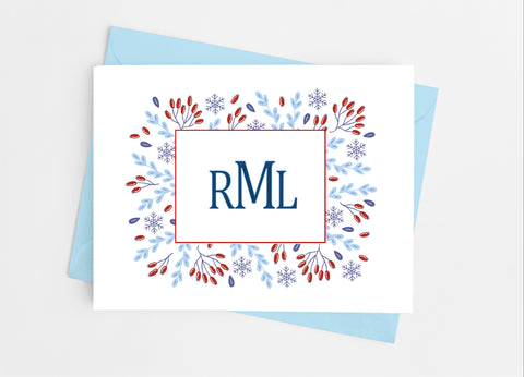 Winter Floral Monogram Note Cards - Cathy's Creations - www.candywrappershop.com