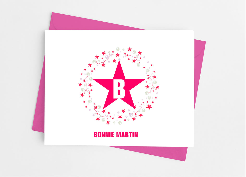 Star Monogram Note Cards-Note Cards-Cathy's Creations - www.candywrappershop.com