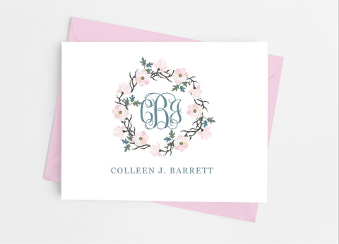 Pink Floral Monogram Note Cards - Cathy's Creations - www.candywrappershop.com