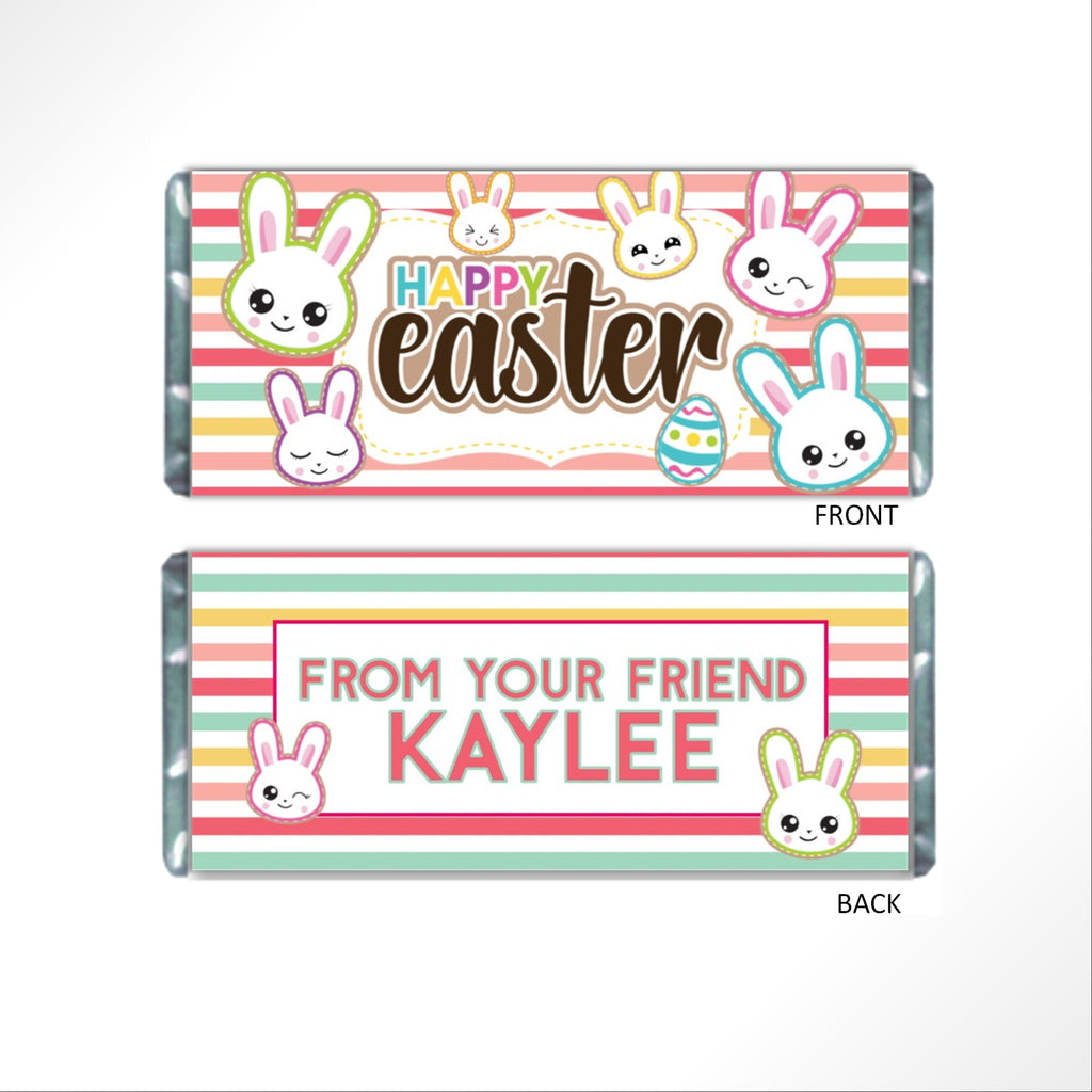 Easter Bunny Stripes Candy Bar Wrapper - Cathy's Creations - www.candywrappershop.com