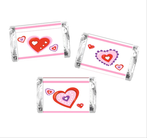Valentine's Day Heart Mini Candy Wrappers-Mini Candy Bar Wrapper-Cathy's Creations - www.candywrappershop.com