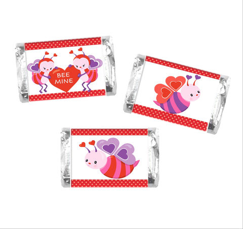 Valentine's Day Bee Mini Candy Wrappers-Mini Candy Bar Wrapper-Cathy's Creations - www.candywrappershop.com