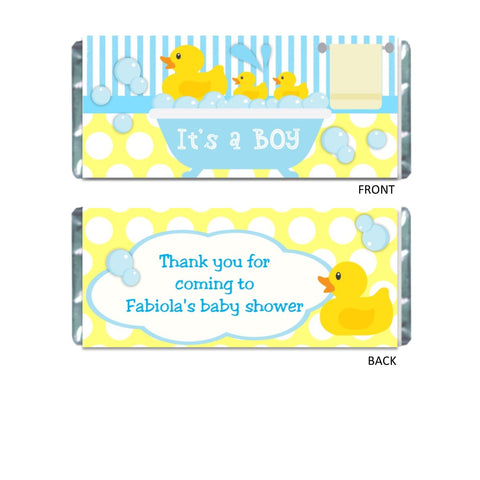 Rubber Ducky Candy Bar Wrapper - Cathy's Creations - www.candywrappershop.com
