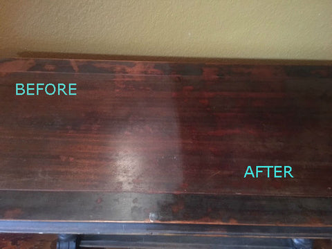 Antique Table Before and After Old English Application