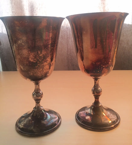 Matching Pair Towle William Adams Silverplate Goblets