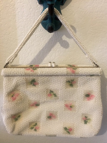 Vintage Lumured Beaded Handbag Floral Design Purse