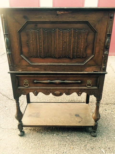 Antique Upright Stereo Cabinet with Skeleton Key